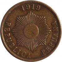 obverse of 1 Centavo (1919) coin with KM# 187 from Peru. Inscription: 1919 REPUBLICA PERUANA