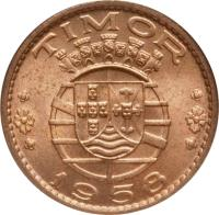 obverse of 30 Centavos (1958) coin with KM# 11 from Portuguese Timor. Inscription: TIMOR 1958