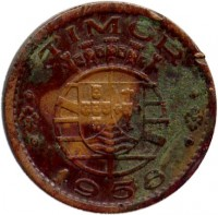 obverse of 10 Centavos (1958) coin with KM# 10 from Portuguese Timor. Inscription: TIMOR 1958