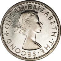 obverse of 2 Shillings - Elizabeth II - 1'st Portrait (1955 - 1957) coin with KM# 6 from Rhodesia and Nyasaland. Inscription: + QUEEN · ELIZABETH · THE · SECOND