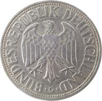 obverse of 1 Deutsche Mark (1950 - 2001) coin with KM# 110 from Germany. Inscription: BUNDESREPUBLIK DEUTSCHLAND . J .
