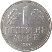 reverse of 1 Deutsche Mark (1950 - 2001) coin with KM# 110 from Germany. Inscription: 1 DEUTSCHE MARK 1991