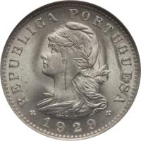 obverse of 20 Centavos (1929) coin with KM# 3 from São Tomé and Príncipe. Inscription: REPUBLICA PORTUGUESA 1929