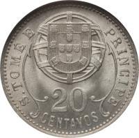 reverse of 20 Centavos (1929) coin with KM# 3 from São Tomé and Príncipe. Inscription: S.TOME E PRINCIPE 20 CENTAVOS