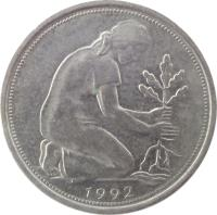 obverse of 50 Pfennig (1950 - 2001) coin with KM# 109 from Germany. Inscription: 1992