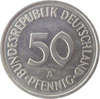 reverse of 50 Pfennig (1950 - 2001) coin with KM# 109 from Germany. Inscription: BUNDESREPUBLIK DEUTSCHLAND 50 A PFENNIG