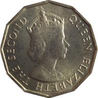 obverse of 10 Cents - Elizabeth II - 1'st Portrait (1953 - 1974) coin with KM# 10 from Seychelles. Inscription: QUEEN ELIZABETH THE SECOND