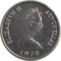 obverse of 1 Cent - Elizabeth II - FAO - 2'nd Portrait (1972) coin with KM# 17 from Seychelles. Inscription: ELIZABETH II SEYCHELLES 1972