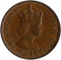 obverse of 5 Cents - Elizabeth II (1964 - 1971) coin with KM# 16 from Seychelles. Inscription: QUEEN ELIZABETH THE SECOND