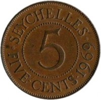 reverse of 5 Cents - Elizabeth II (1964 - 1971) coin with KM# 16 from Seychelles. Inscription: · SEYCHELLES · 5 FIVE · CENTS · 1969