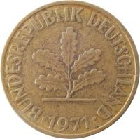 obverse of 10 Pfennig (1950 - 2001) coin with KM# 108 from Germany. Inscription: BUNDESREPUBLIK DEUTSCHLAND 1989