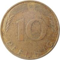 reverse of 10 Pfennig (1950 - 2001) coin with KM# 108 from Germany. Inscription: 10 PFENNIG F