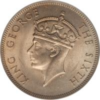 obverse of 2 Shillings - George VI (1948 - 1952) coin with KM# 23 from Southern Rhodesia. Inscription: KING GEORGE THE SIXTH