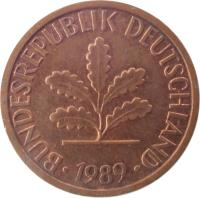 obverse of 1 Pfennig (1950 - 2001) coin with KM# 105 from Germany. Inscription: BUNDESREPUBLIK DEUTSCHLAND 1950