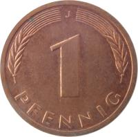 reverse of 1 Pfennig (1950 - 2001) coin with KM# 105 from Germany. Inscription: 1 PFENNIG F