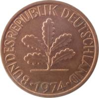 obverse of 2 Pfennig - Magnetic (1967 - 2001) coin with KM# 106a from Germany. Inscription: BUNDESREPUBLIK DEUTSCHLAND 1996