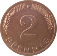 reverse of 2 Pfennig - Magnetic (1967 - 2001) coin with KM# 106a from Germany. Inscription: 2 PFENNIG D