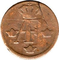 obverse of 1 Öre Silfwermynt - Adolf Fredrik (1751 - 1768) coin with KM# 460 from Sweden. Inscription: AF
