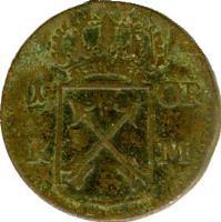 reverse of 1 Öre Kopparmynt - Fredrik I (1720 - 1750) coin with KM# 383 from Sweden. Inscription: 1 ÖR K M