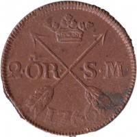 reverse of 2 Öre Silfwermynt - Adolf Frederick (1751 - 1768) coin with KM# 461 from Sweden. Inscription: 2.ÖR. S.M. 1766
