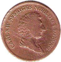 obverse of 2/3 Skilling Banco - Carl XIV Johan (1835 - 1843) coin with KM# 641 from Sweden.