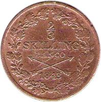reverse of 2/3 Skilling Banco - Carl XIV Johan (1835 - 1843) coin with KM# 641 from Sweden.