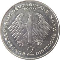 obverse of 2 Deutsche Mark - 40th Anniversary of Federal Republic: Ludwig Erhard (1948 - 1988) (1988 - 2001) coin with KM# 170 from Germany. Inscription: BUNDESREPUBLIK DEUTSCHLAND 1990 D 2 DEUTSCHE MARK