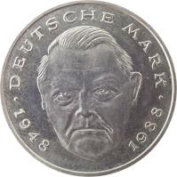reverse of 2 Deutsche Mark - 40th Anniversary of Federal Republic: Ludwig Erhard (1948 - 1988) (1988 - 2001) coin with KM# 170 from Germany. Inscription: DEUTSCHE MARK 1948 1988