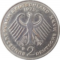 obverse of 2 Deutsche Mark - 20th Anniversary to Federal Republic: Konrad Adenauer (1969 - 1987) coin with KM# 124 from Germany. Inscription: BUNDESREPUBLIK DEUTSCHLAND 1975 D 2 DEUTSCHE MARK