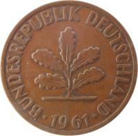 obverse of 2 Pfennig - Non magnetic (1950 - 1969) coin with KM# 106 from Germany. Inscription: BUNDESREPUBLIK DEUTSCHLAND 1966