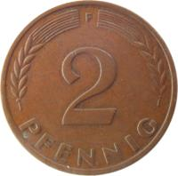 reverse of 2 Pfennig - Non magnetic (1950 - 1969) coin with KM# 106 from Germany. Inscription: D 2 PFENNIG