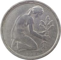obverse of 50 Pfennig (1949 - 1950) coin with KM# 104 from Germany. Inscription: 1949