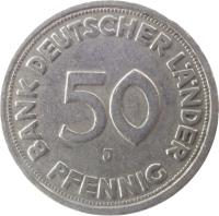 reverse of 50 Pfennig (1949 - 1950) coin with KM# 104 from Germany. Inscription: 50 PFENNIG BANK DEUTSCHER LÄNDER