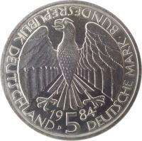 obverse of 5 Deutsche Mark - Deutscher Zollverein (1984) coin with KM# 160 from Germany. Inscription: BUNDESREPUBLIK DEUTSCHLAND D 1984 5 DEUTSCHE MARK
