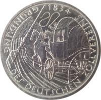 reverse of 5 Deutsche Mark - Deutscher Zollverein (1984) coin with KM# 160 from Germany. Inscription: GRUNDUNG DES DEUTSCHEN ZOLLVEREINIS 1834