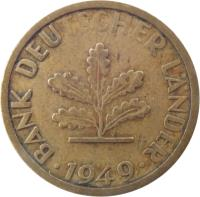 obverse of 5 Pfennig (1949) coin with KM# 102 from Germany. Inscription: BANK DEUTSCHER LÄNDER 1949