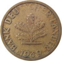 obverse of 5 Pfennig (1949) coin with KM# 102 from Germany. Inscription: BANK DEUTSCHER LÄNDER 1949