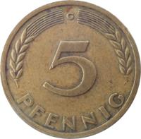 reverse of 5 Pfennig (1949) coin with KM# 102 from Germany. Inscription: J 5 PFENNIG