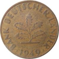 obverse of 10 Pfennig (1949) coin with KM# 103 from Germany. Inscription: BANK DEUTSCHER LÄNDER 1949