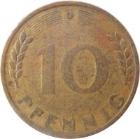 reverse of 10 Pfennig (1949) coin with KM# 103 from Germany. Inscription: G 10 PFENNIG