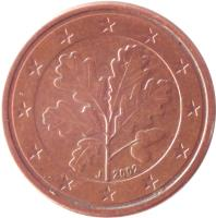 obverse of 1 Euro Cent (2002 - 2015) coin with KM# 207 from Germany. Inscription: 2005 D