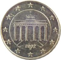 obverse of 10 Euro Cent - 1'st Map (2002 - 2006) coin with KM# 210 from Germany. Inscription: 2002 F