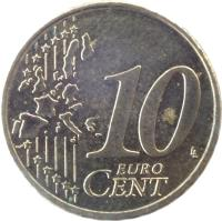 reverse of 10 Euro Cent - 1'st Map (2002 - 2006) coin with KM# 210 from Germany. Inscription: 10 EURO CENT LL