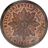 obverse of 40 Centésimos (1857) coin with KM# 10 from Uruguay. Inscription: REPUBLICA ORIENTAL DEL URUGUAY 1857