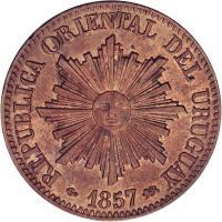 obverse of 5 Centésimos (1857) coin with KM# 8 from Uruguay. Inscription: REPUBLICA ORIENTAL DEL URUGUAY 1857