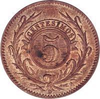 reverse of 5 Centésimos (1857) coin with KM# 8 from Uruguay. Inscription: 5 CENTESIMOS