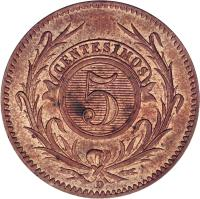 reverse of 5 Centésimos (1857) coin with KM# 8 from Uruguay. Inscription: 5 CENTESIMOS