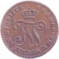 obverse of 2 Pfennige - Friedrich Wilhelm (1872) coin with KM# 102 from German States. Inscription: V.G.G.GROSSH.V.MECKLENB.STRELITZ