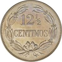 reverse of 12 1/2 Céntimos (1896 - 1938) coin with Y# 28 from Venezuela. Inscription: 12 1/2 CENTIMOS