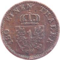obverse of 2 Pfenninge - Wilhelm I (1861 - 1873) coin with KM# 481 from German States. Inscription: 180 EINEN THALER